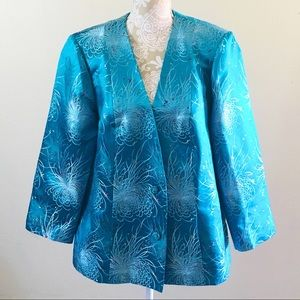 Gorgeous turquoise brocade jacket by Johnson & Co
